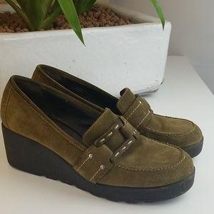 Aerosoles Suede Olive Green Wedges Slip On Shoes